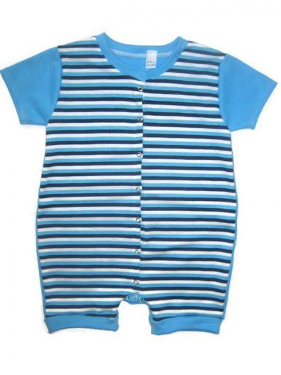Rövid szárú baba body, kék csíkos, türkizkék rövid ujjal, elöl végig patentos, termékkép.