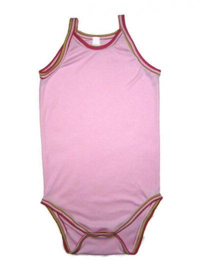 Spagetti pántos pamut body, baba rózsaszín, pink csíkos szegőkkel, termékkép.