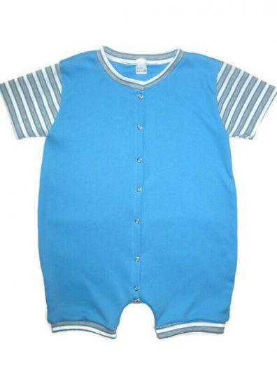 Száras baba body, türkizkék színű, kék csíkos rövid ujjal, elöl végig patentos, termékkép.