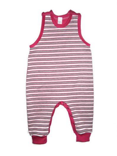 Téli kezeslábas pizsama lányka, pink-szürke csíkos, pink pamuttal variálva, ujjatlan, vállnál patentos fazon, termékkép.