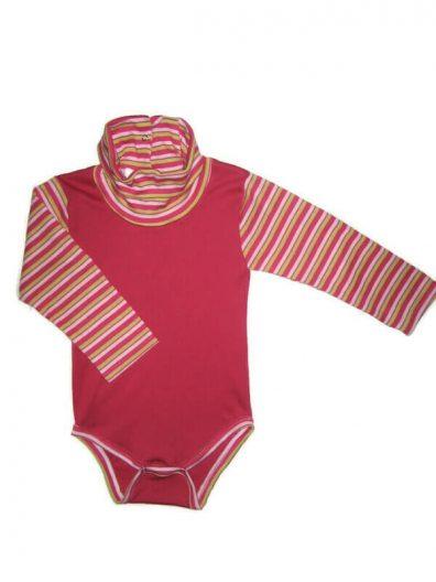 baba body lányos, pink színű, pink-kiwi csíkos hosszú ujjal és garbóval, lányos kombidressz, termékkép.